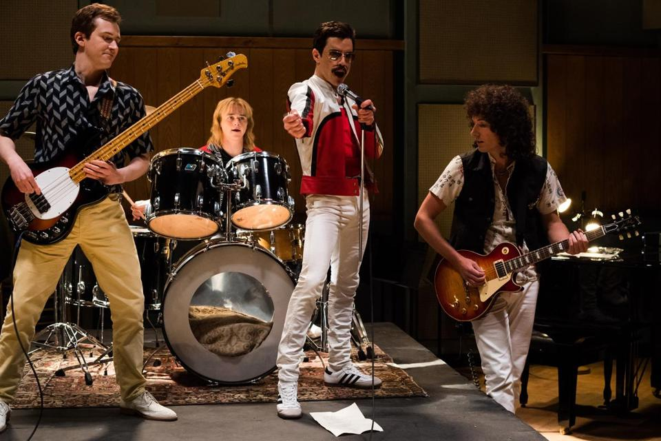 L-R: Joe Mazzello (John Deacon), Ben Hardy (Roger Taylor), Rami Malek (Freddie Mercury) and Gwilym Lee (Brian May) star BOHEMIAN RHAPSODY of Twentieth Century Fox. Photo credit: Alex Bailey.